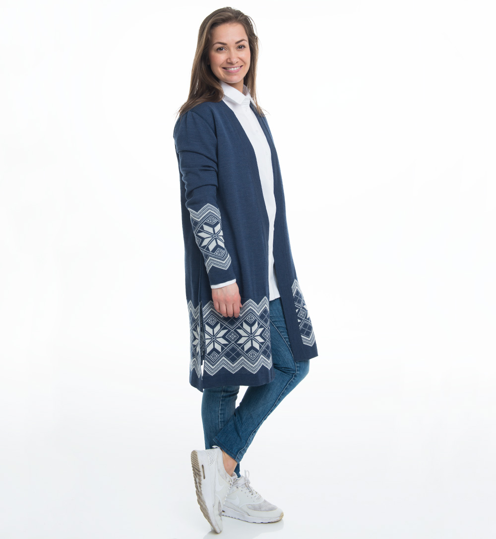 long cardigan in jeansblue