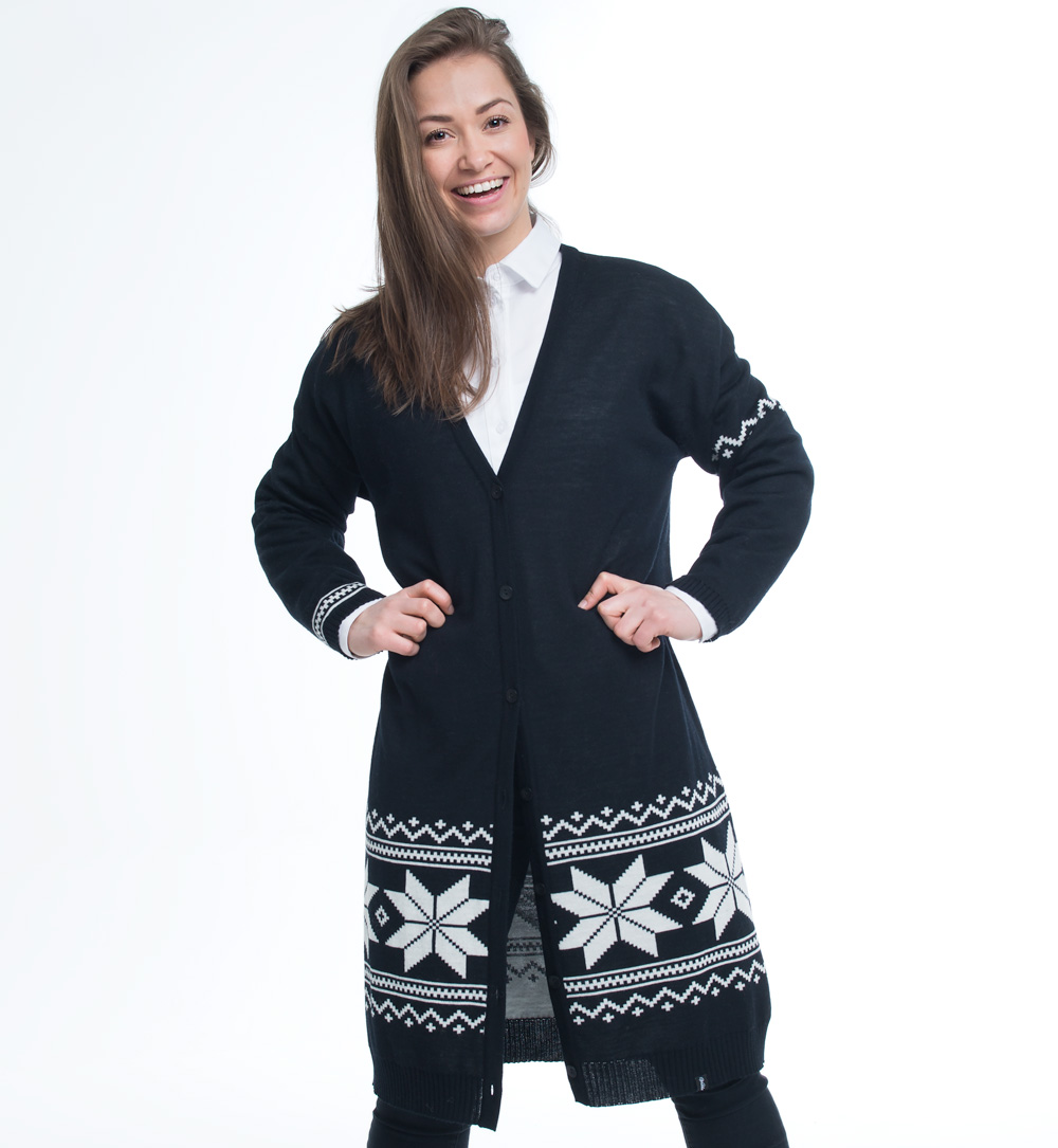 knitted long cardigan in black