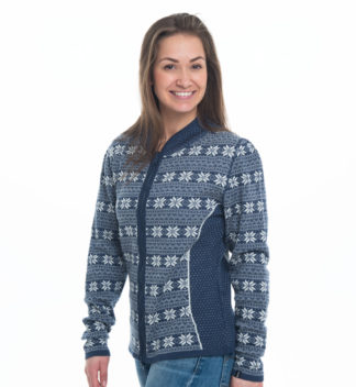knitted cardigan in jeansblue