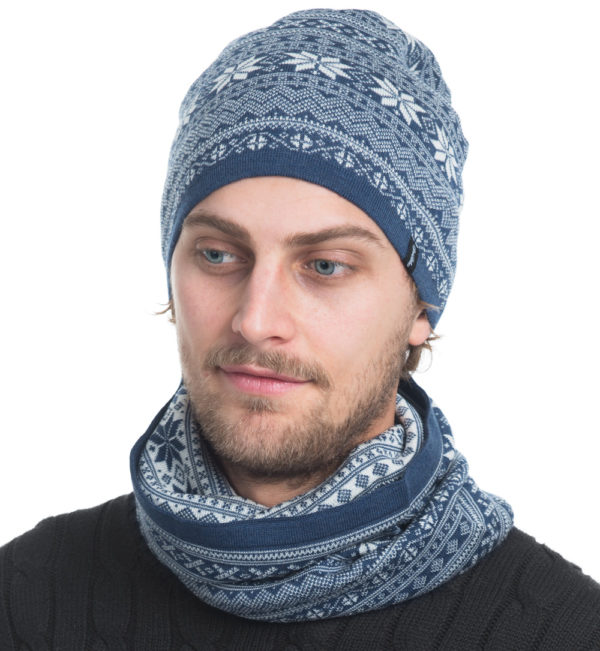 merinowool neck and hat in jeansblue