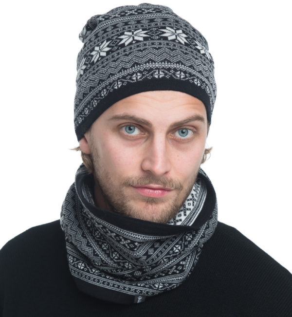 merinowool neck and hat in black