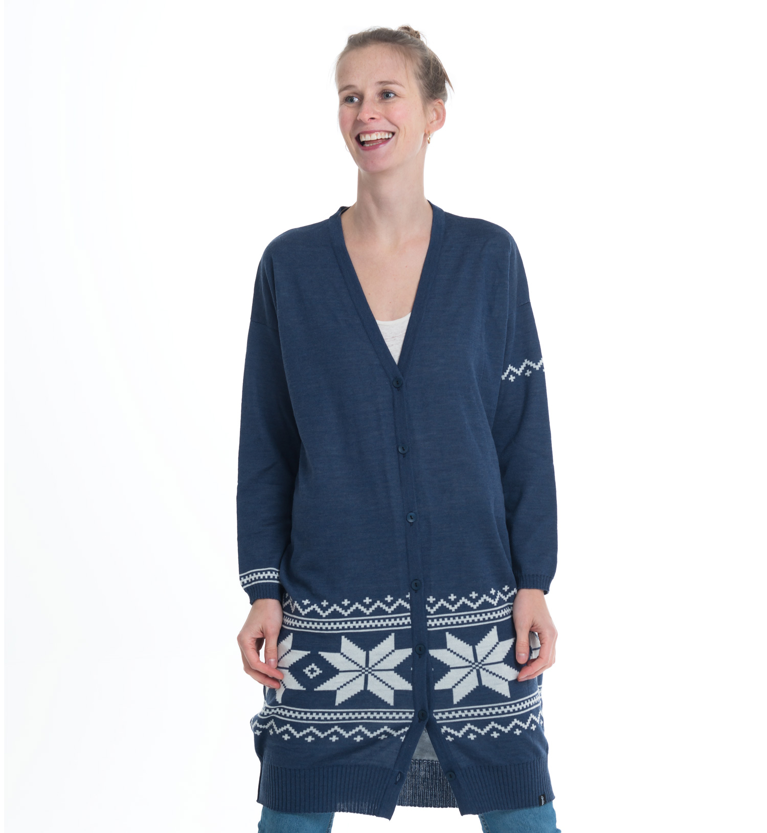 knitted long cardigan in jeansblue