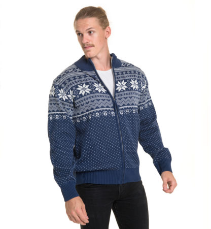 cotton / acrylic cardigan in jeansblue