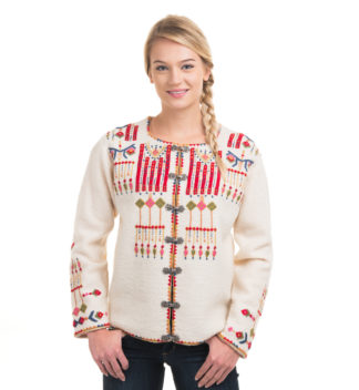 Jacket with hand embroidery, white