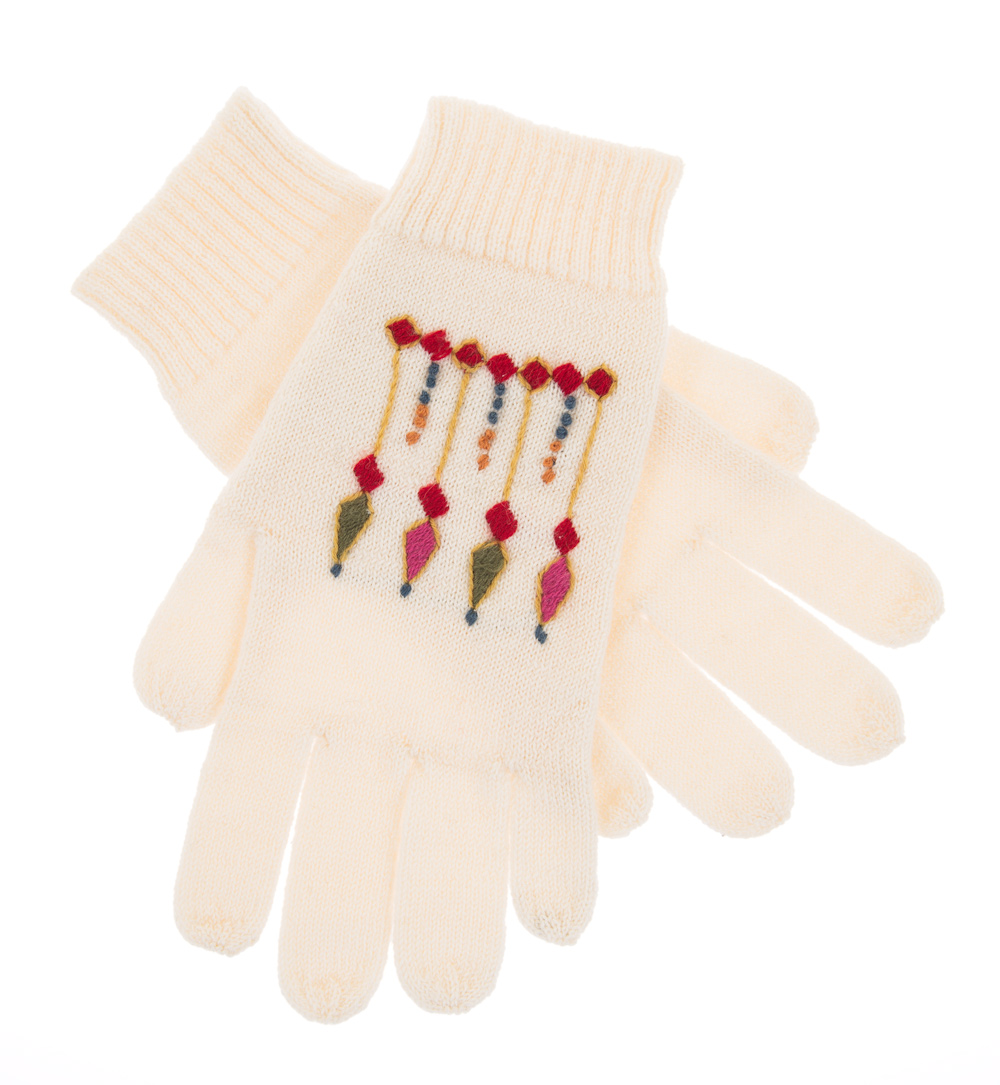 gloves with hand embroidery, white