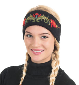 Headband with hand embroidery, black