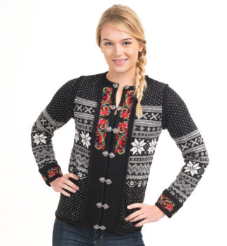 Jacket with hand embroidery, black