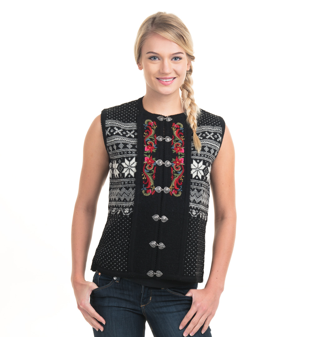 Vest with hand embroideries, black