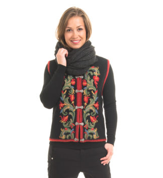 Vest with hand embroidery, black