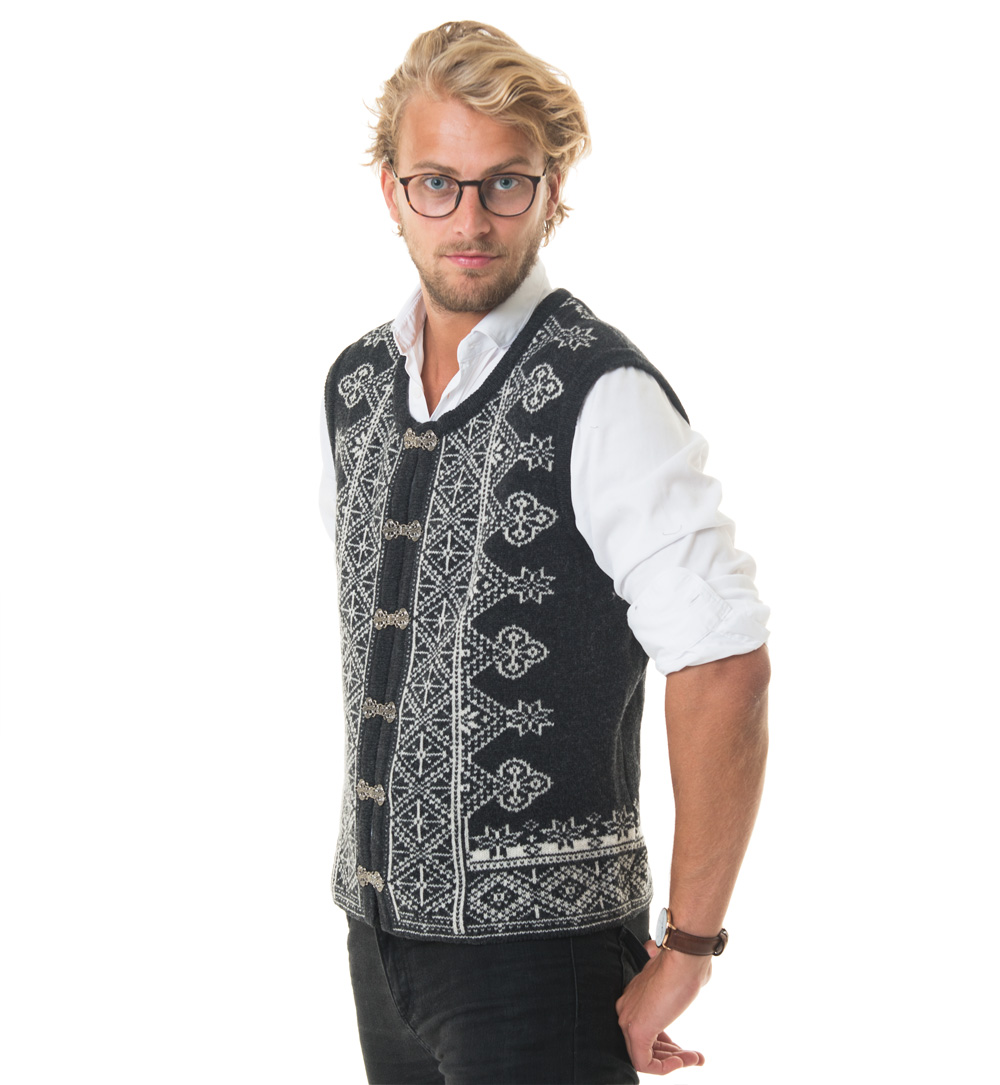 wool vest in charcole